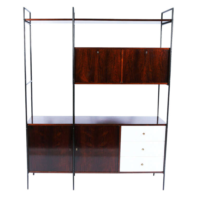 MF-710 Storage Unit in Jacaranda veneer, white formica, wrough iron and brass, by Geraldo de Barros, 1955