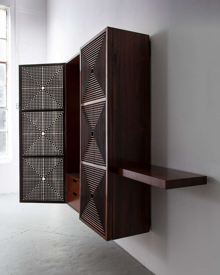 Wall hung storage cabinet in jacaranda, with lattice front, by Joaquim Tenreiro