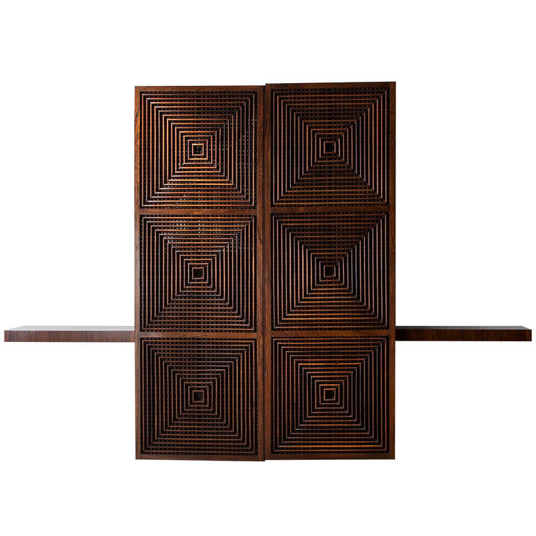 Wall hung storage cabinet in jacaranda, with lattice front, front view, by Joaquim Tenreiro
