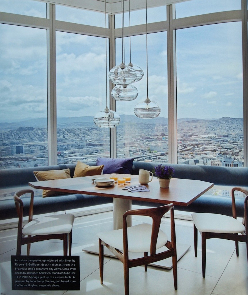 Kitchen with a view. John Pomp pendants and floating banquette.