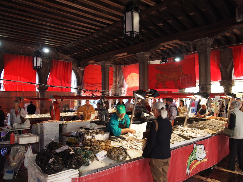 So many different types of sea food in several open air pavilions.