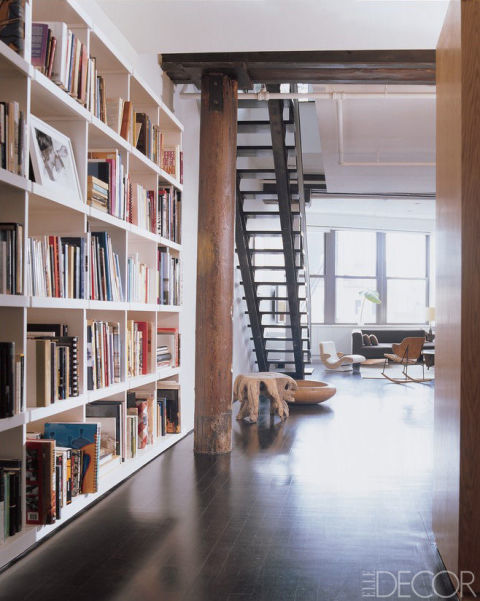 The hall library in Julian Moore's Tribeca home.