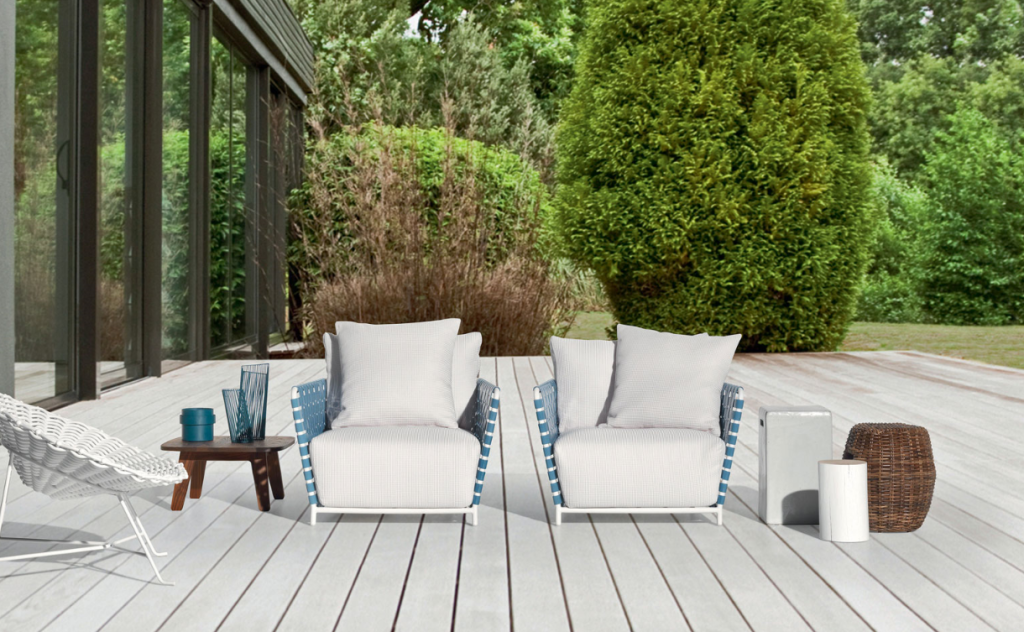 The woven back has a laid-back attitude in these Gervasoni chairs.