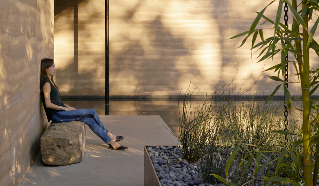 Water, stone, steel and rammed earth combine beautifully at Windhover Contemplative Center