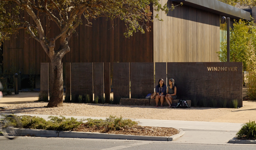 Rammed earth, steel, and crushed gravel in the garden at Windhover Contemplative Center.