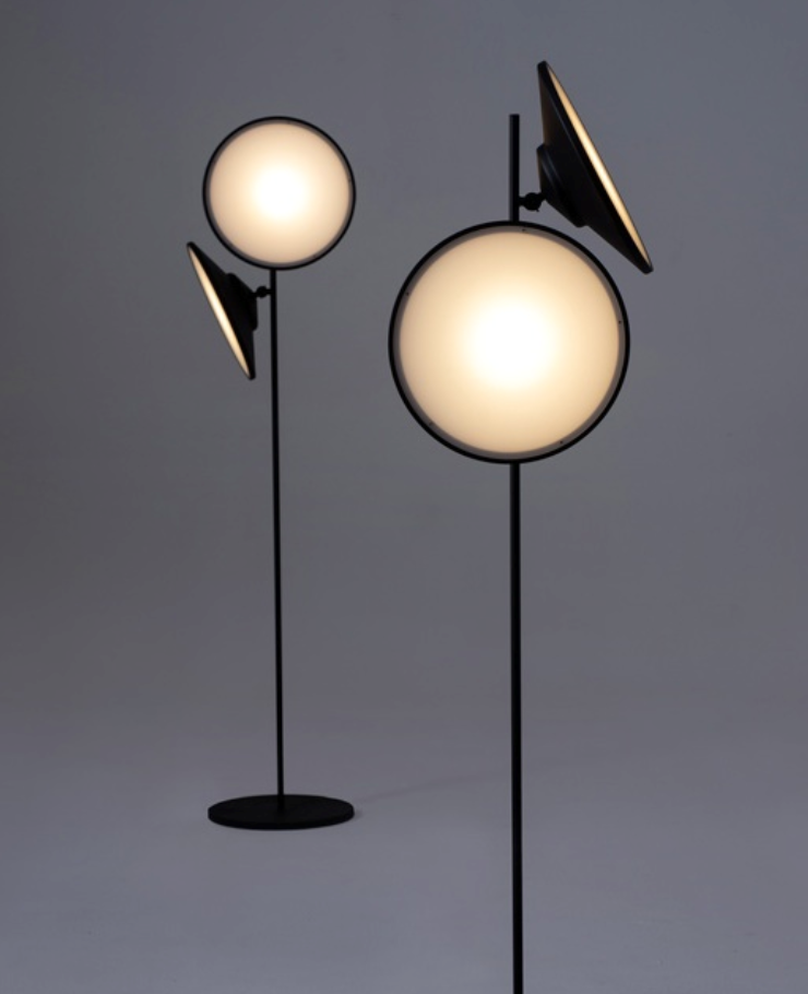 2 moons floor lamp by Nir Meiri, in metal plastic and LED lamp