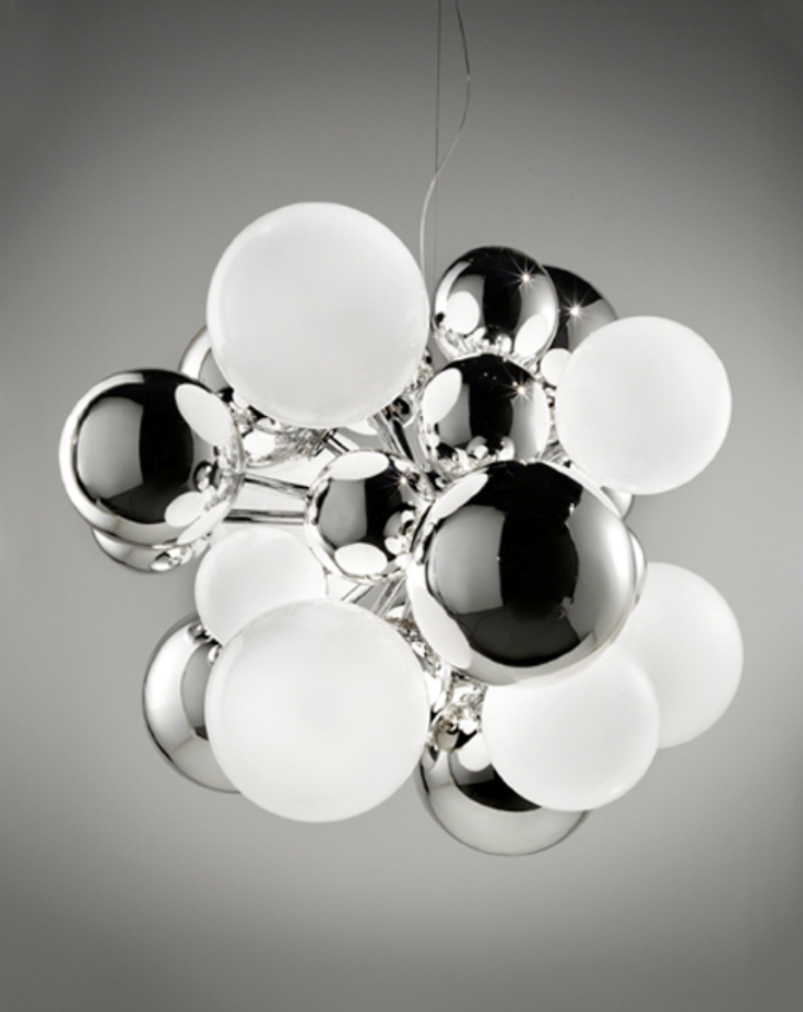 Digital collection ceiling lamp by Emmanuel Babled, in chrome, opal and mirrored Muraon glass