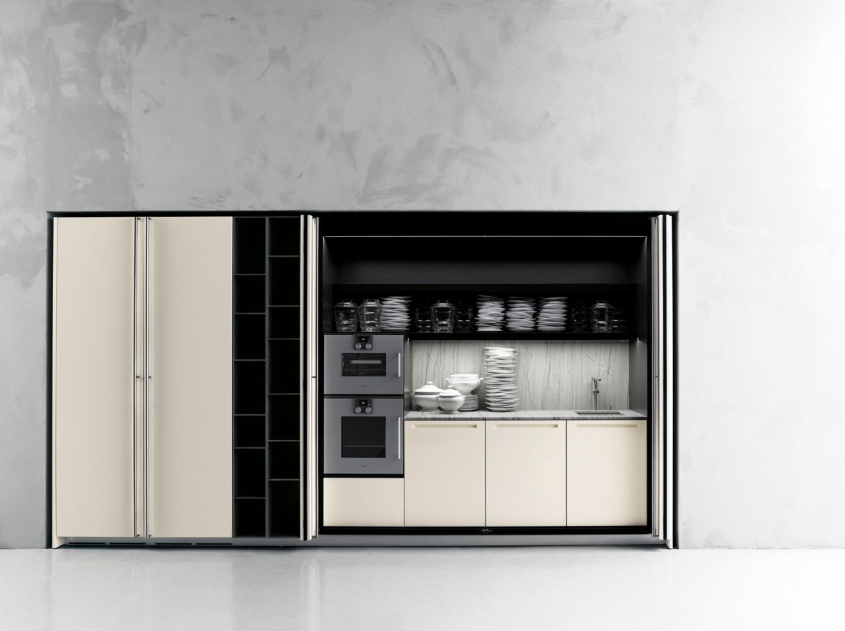 An entire kitchen can be hid with Hide kitchen by Piero Lissoni