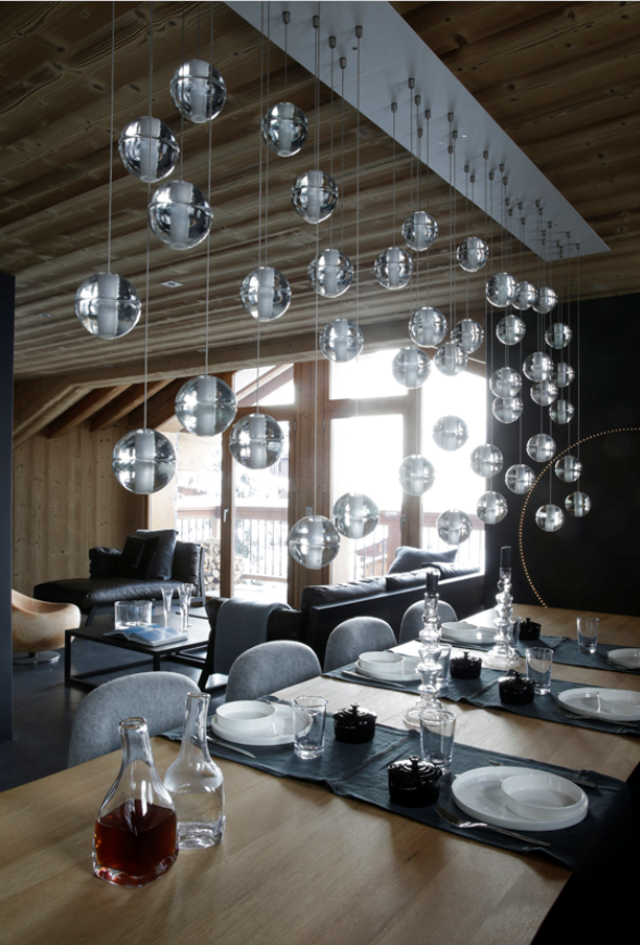 Dining Room with Bocci lights, #AngeliqueBuisson