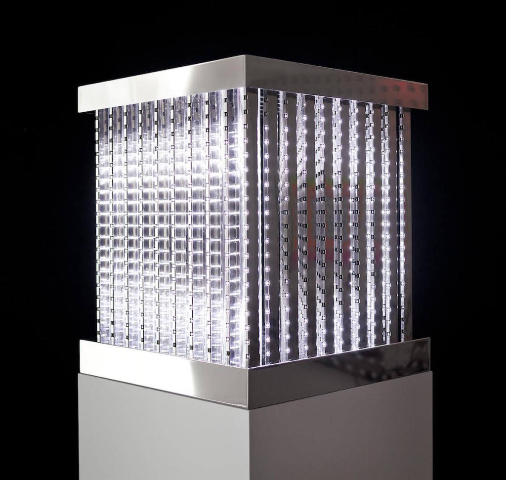 Cube, 2011, White LEDs, mirror finished stainless steel, custom software, electrical hardware #leovillareal #bjornstudio