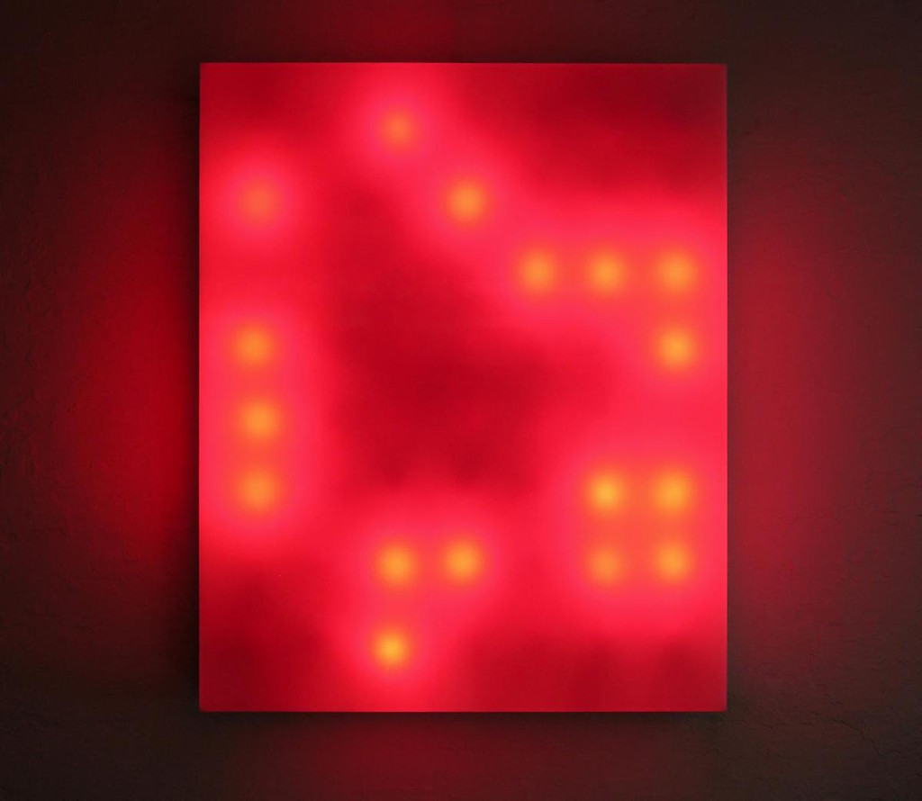 Red Life, 1999, Plexiglas, incandescent light bulbs, custom software, electrical hardware #leovillareal