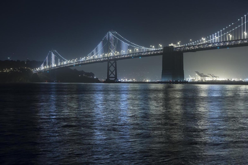 The Bay Lights, site specific installation at the Bay Bridge, 2013, LEDs, custom software #leovillareal