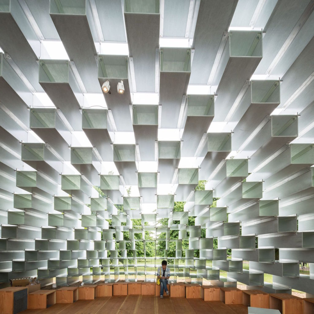 BIG's 2016 Serpentine Gallery Pavilion London comprised of stacked fiberglass blocks. Bjorn Studio