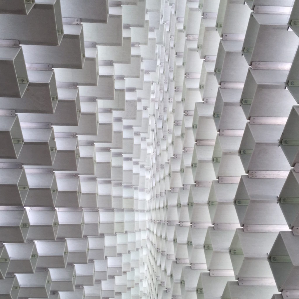 A view of the ceiling in BIG's 2016 Serpentine Gallery Pavilion London seating. Bjorn Studio