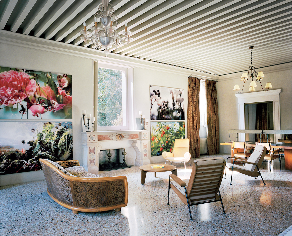 Terrazzo is used in combination with Jean Prouvé chairs and contemporary furniture in this chateau. #bjornstudio