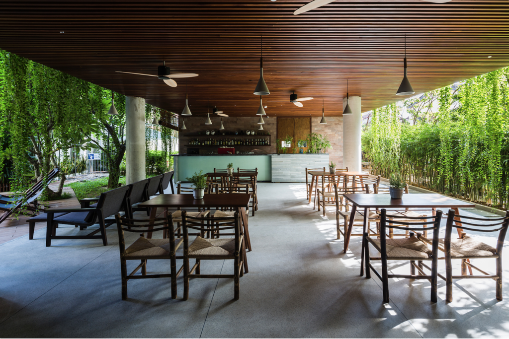 Dining area in VTN Architects Atlas Hotel in Hoi An, Vietnam.