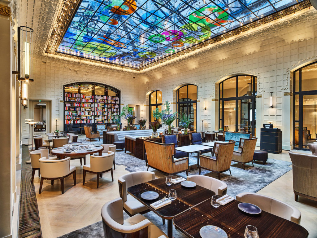 Jean Michel Wilmotte interior for Hotel Lutetia Salon Saint Germain, artist Fabrice Hyber's colorful glass roof